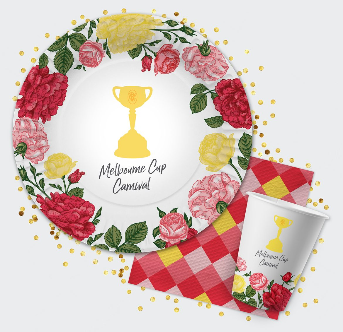 Melbourne Cup Party Plate, Napkin and Cup