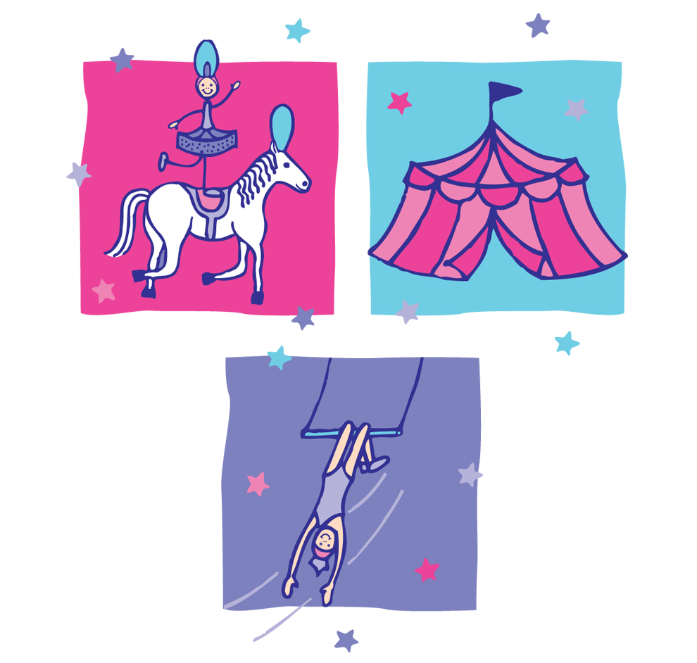Horsewoman, Circus Tent and Trapeze Artist